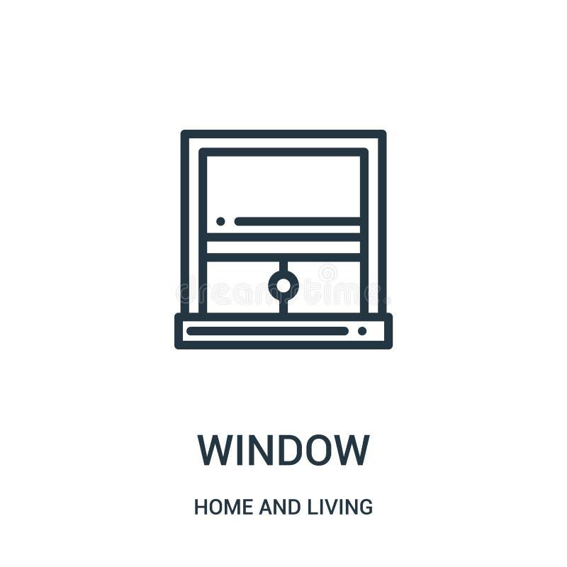 vecteur d'icône de fenêtre de maison et de collection vivante Ligne mince illustration de vecteur d'icône d'ensemble de fenêtre S illustration stock