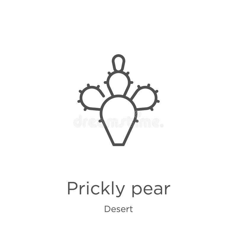 vecteur d'icône de figue de Barbarie de collection de désert Ligne mince illustration de vecteur d'icône d'ensemble de figue de B illustration stock
