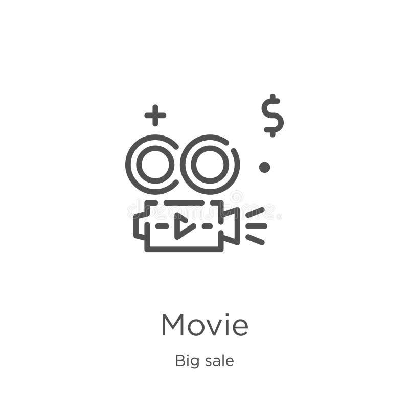 vecteur d'icône de film de la grande collection de vente Ligne mince illustration de vecteur d'icône d'ensemble de film Contour,  illustration de vecteur
