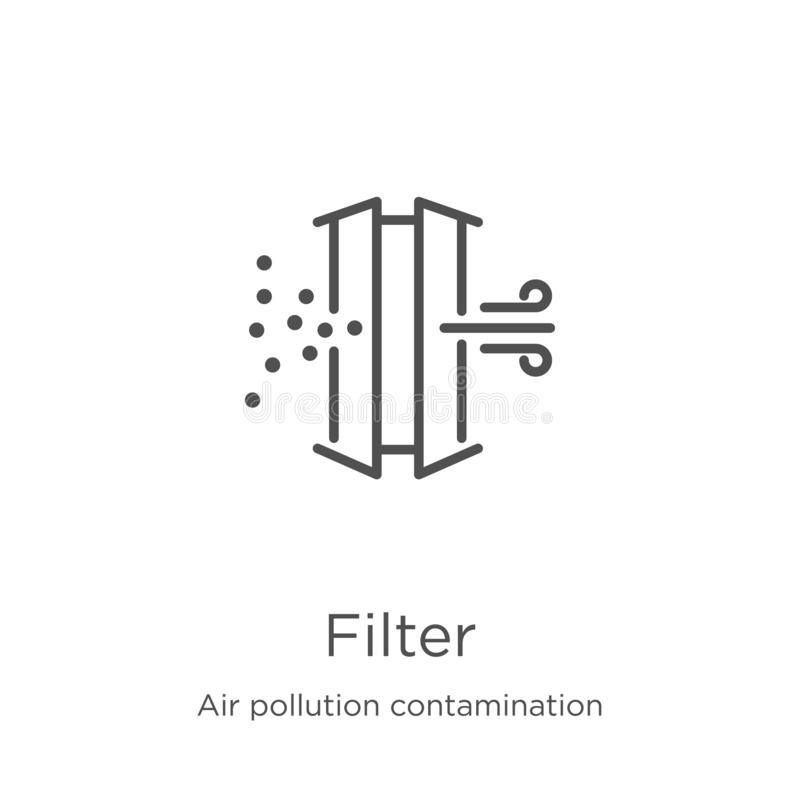 vecteur d'icône de filtre de collection de contamination de pollution atmosphérique Mince illustration de vecteur d'ic?ne d'ensem illustration libre de droits