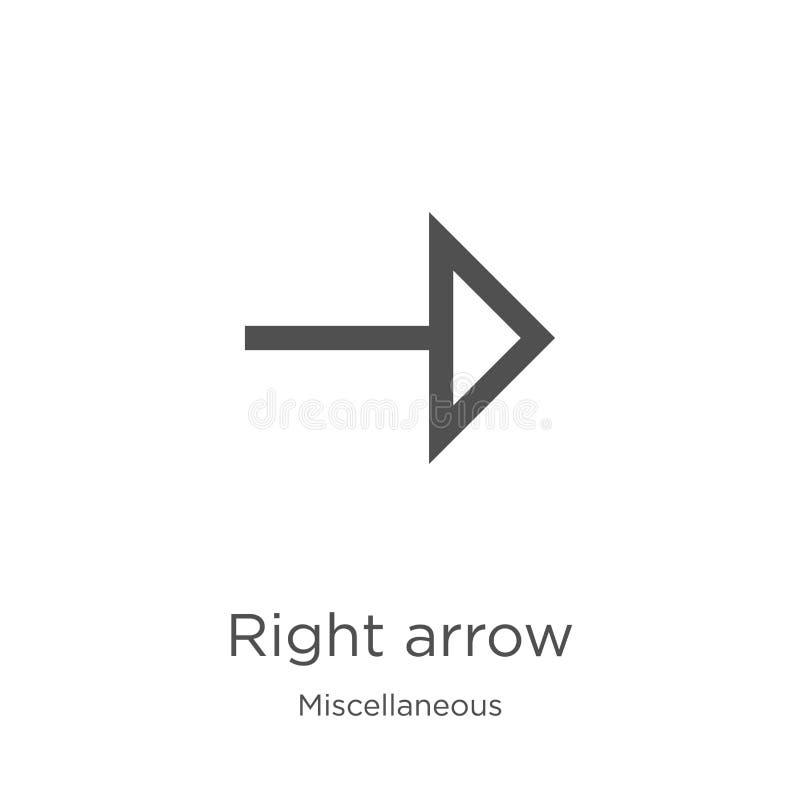 vecteur d'icône de flèche droite de la collection diverse Ligne mince illustration de vecteur d'icône d'ensemble de flèche droite illustration stock