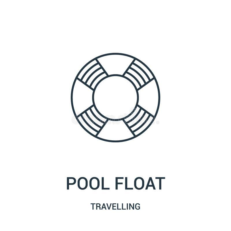 vecteur d'icône de flotteur de piscine de la collection de déplacement Ligne mince illustration de vecteur d'icône d'ensemble de  illustration libre de droits