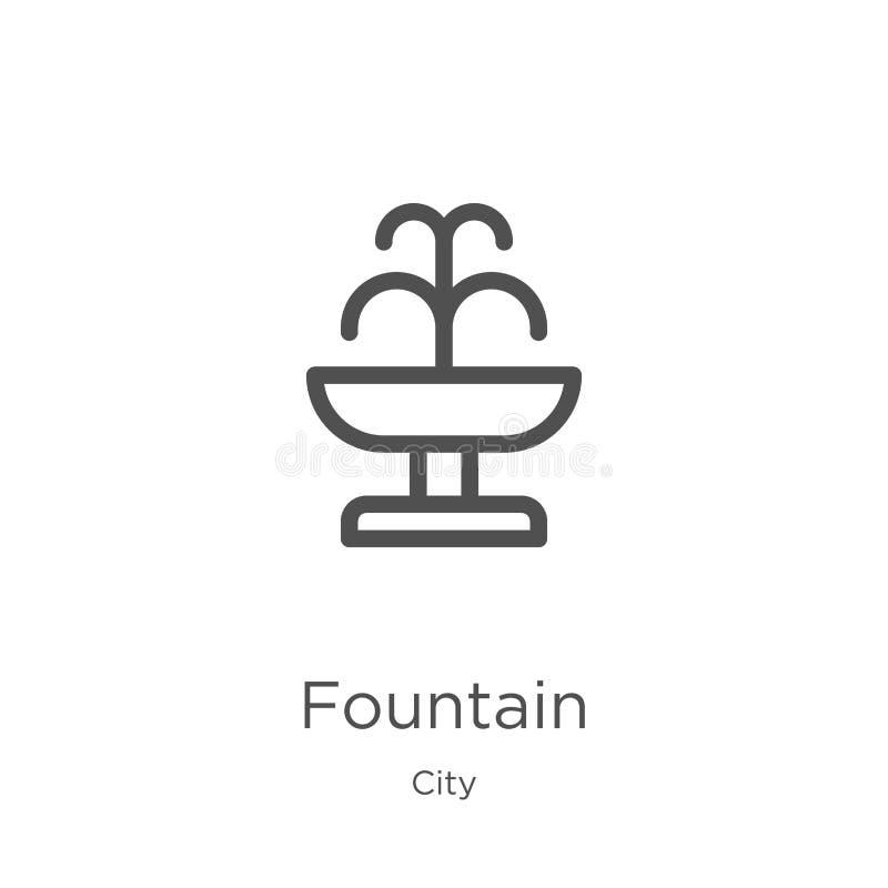 vecteur d'icône de fontaine de collection de ville Ligne mince illustration de vecteur d'ic?ne d'ensemble de fontaine Contour, li illustration de vecteur