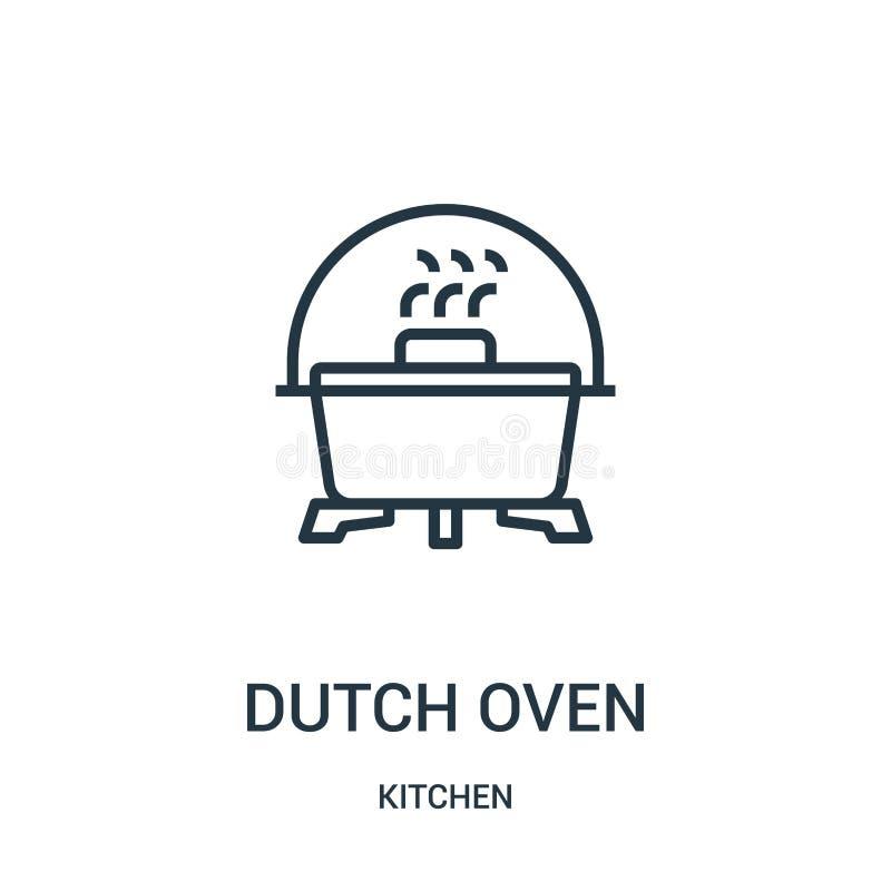 vecteur d'icône de four néerlandais de collection de cuisine Ligne mince illustration de vecteur d'icône d'ensemble de four néerl illustration de vecteur