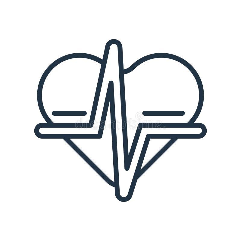 Vecteur d'icône de fréquence cardiaque d'isolement sur le fond blanc, signe de fréquence cardiaque illustration stock