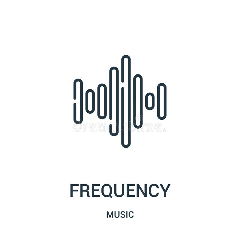 vecteur d'icône de fréquence de collection de musique Ligne mince illustration de vecteur d'icône d'ensemble de fréquence illustration de vecteur
