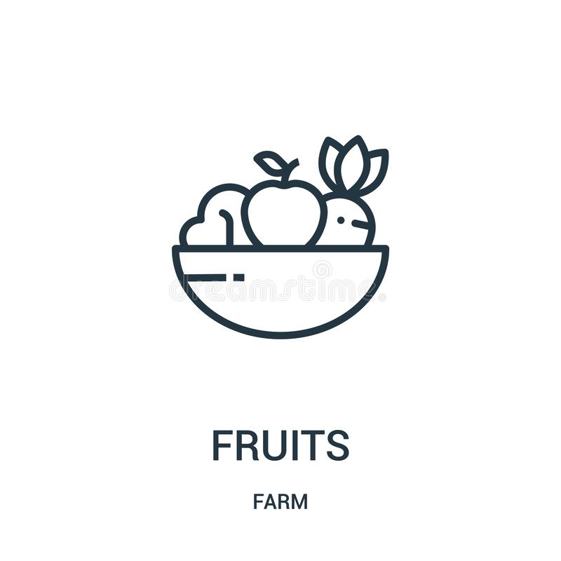 vecteur d'icône de fruits de collection de ferme Ligne mince illustration de vecteur d'icône d'ensemble de fruits Symbole linéair illustration de vecteur