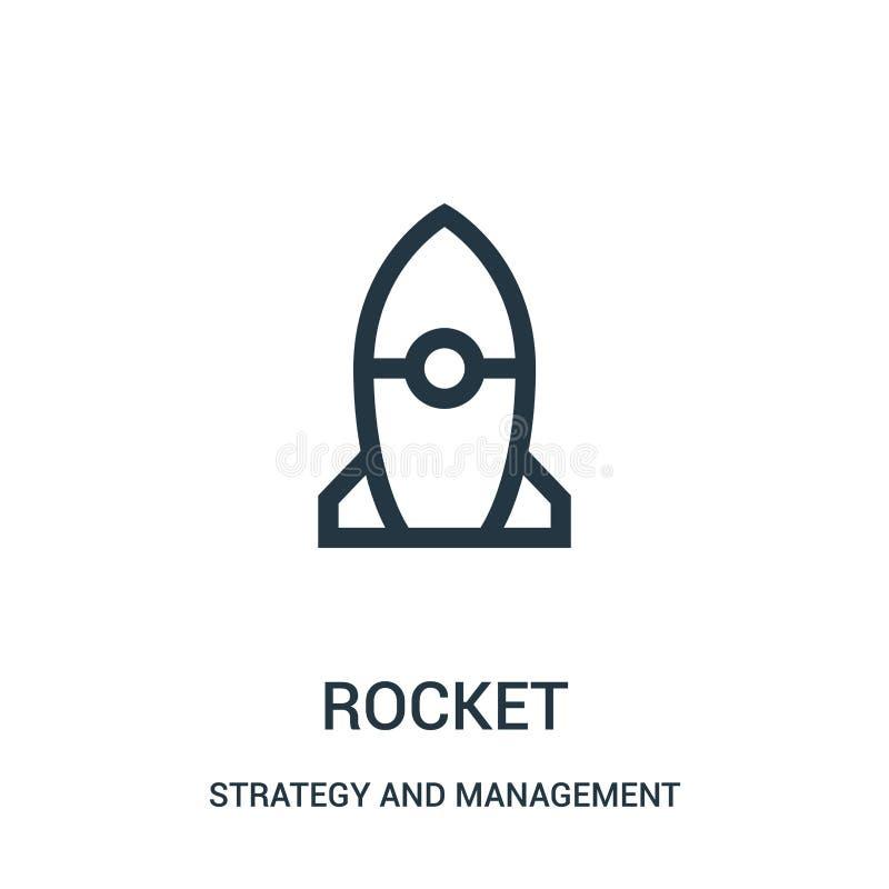 vecteur d'icône de fusée de stratégie et de collection de gestion Ligne mince illustration de vecteur d'ic?ne d'ensemble de fus?e illustration de vecteur