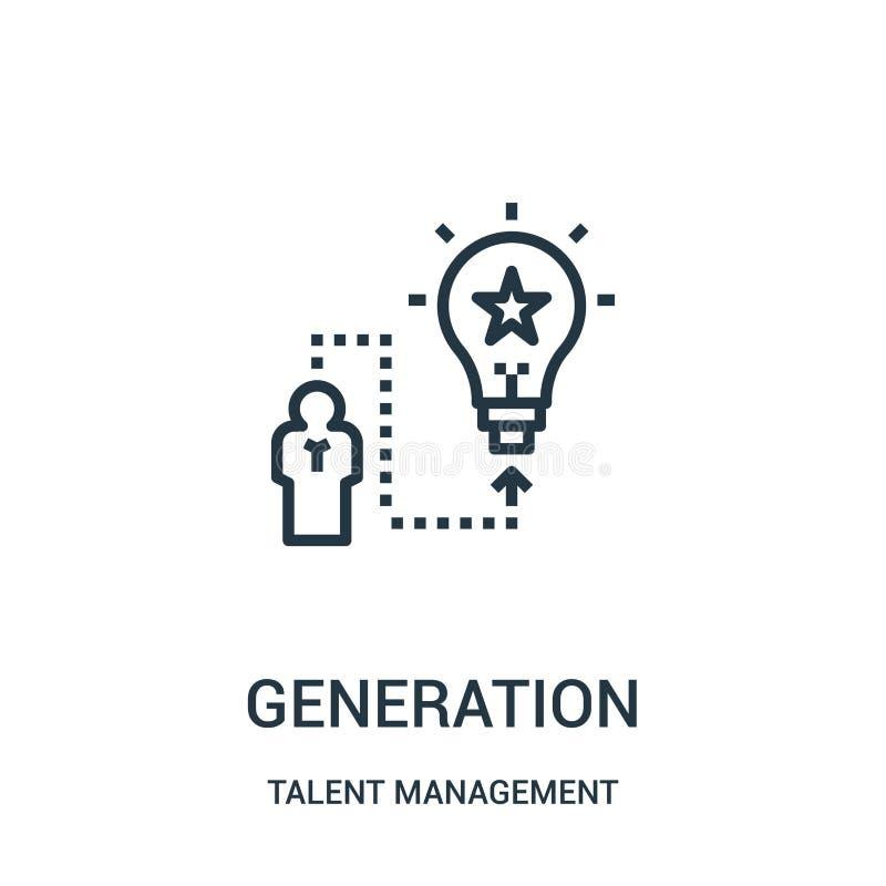 vecteur d'icône de génération de collection de gestion de talent Ligne mince illustration de vecteur d'icône d'ensemble de généra illustration libre de droits