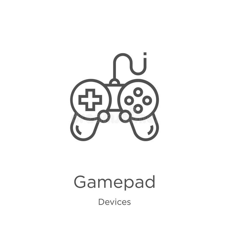vecteur d'icône de gamepad de collection de dispositifs Ligne mince illustration de vecteur d'ic?ne d'ensemble de gamepad Contour illustration stock