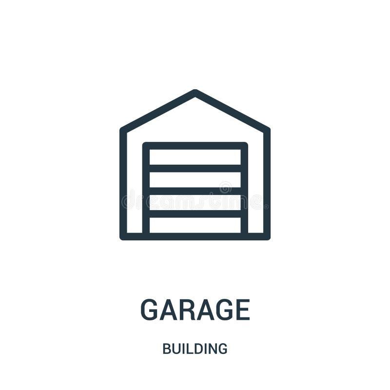 vecteur d'icône de garage de collection de bâtiment Ligne mince illustration de vecteur d'ic?ne d'ensemble de garage illustration de vecteur