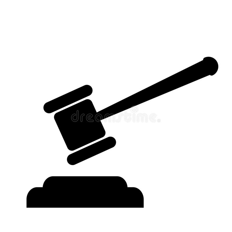 Vecteur d'icône de Gavel, symbole de Gavel illustration stock