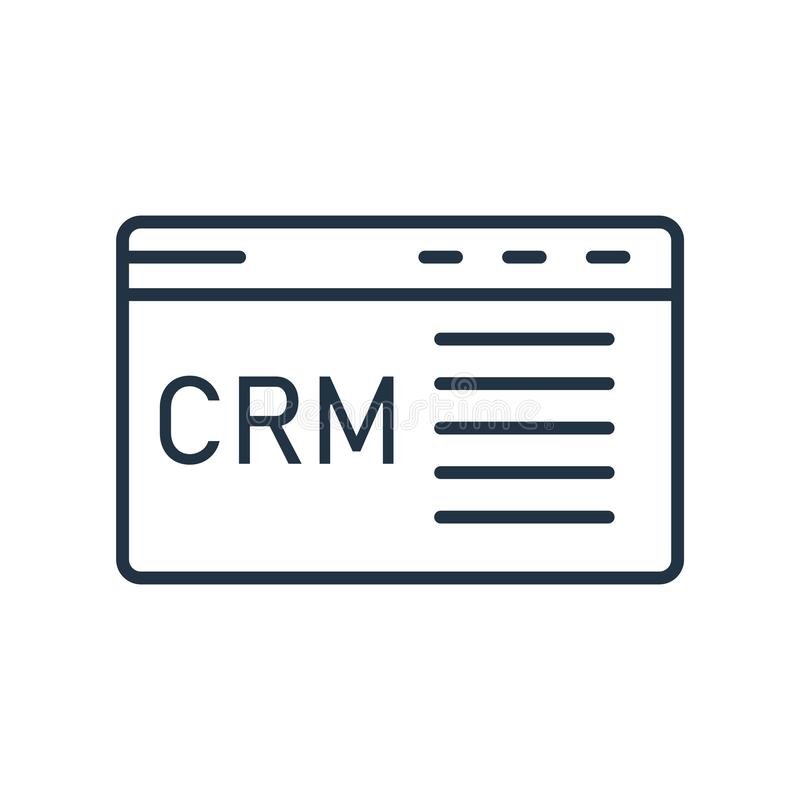 Vecteur d'icône de gestion de relations de client d'isolement sur le fond blanc, signe de gestion de relations de client illustration libre de droits