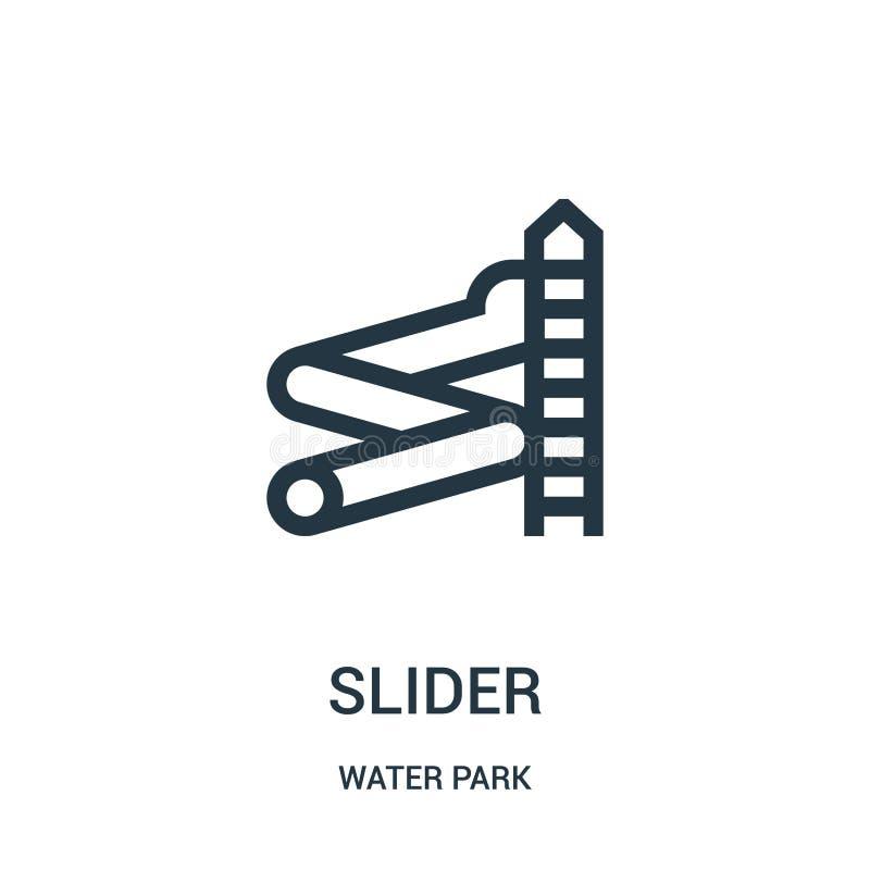 vecteur d'icône de glisseur de collection de parc aquatique Ligne mince illustration de vecteur d'icône d'ensemble de glisseur Sy illustration libre de droits