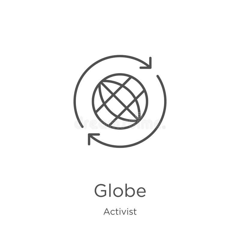 vecteur d'icône de globe de collection d'activiste Ligne mince illustration de vecteur d'icône d'ensemble de globe Contour, ligne illustration stock