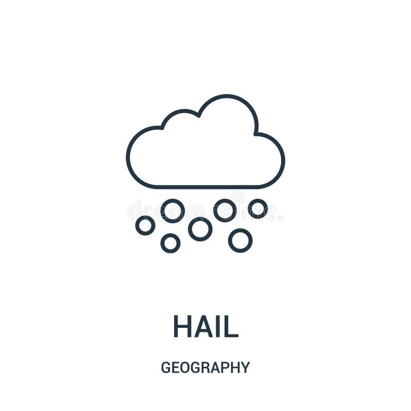vecteur d'icône de grêle de collection de géographie Ligne mince illustration de vecteur d'icône d'ensemble de grêle illustration libre de droits