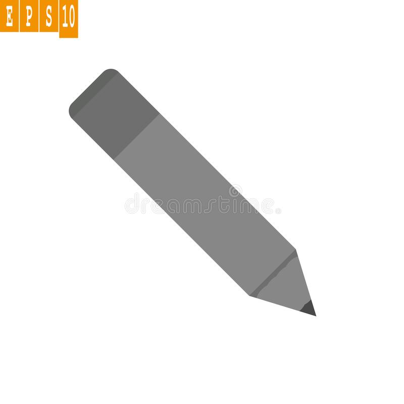 Vecteur d'icône de Grey Pencil Signe gris eps10 de vecteur de note de crayon sur le fond blanc illustration stock