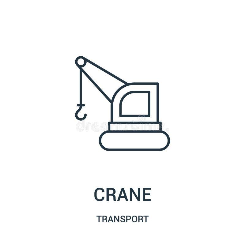vecteur d'icône de grue de collection de transport Ligne mince illustration de vecteur d'icône d'ensemble de grue illustration de vecteur