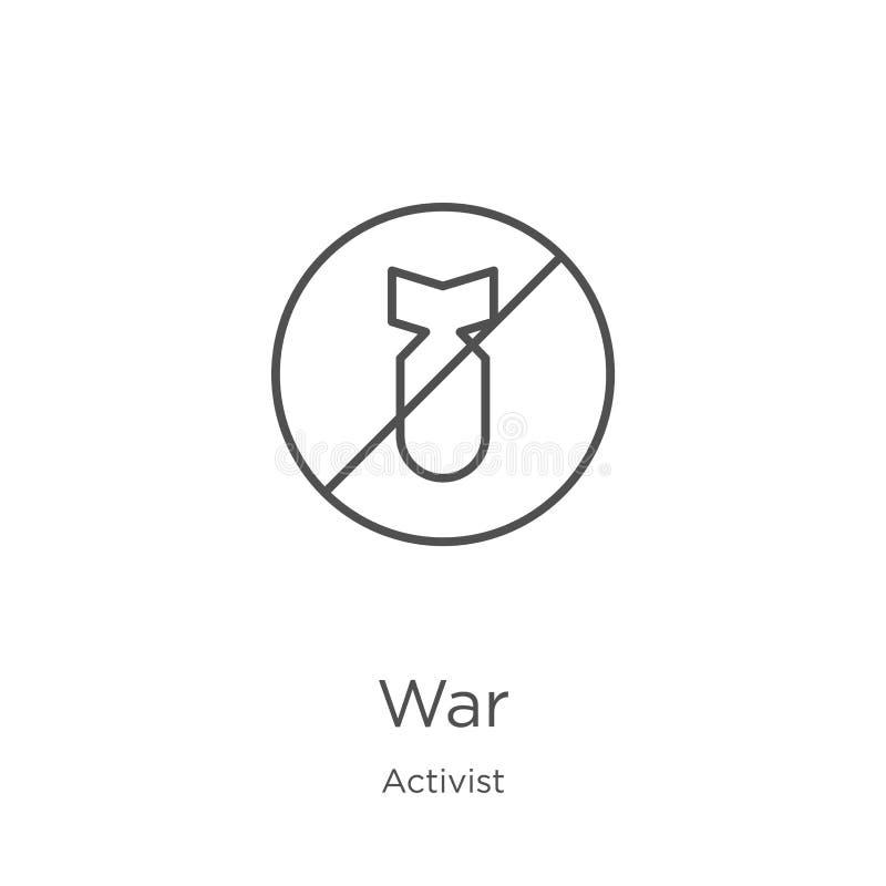 vecteur d'icône de guerre de collection d'activiste Ligne mince illustration de vecteur d'icône d'ensemble de guerre Contour, lig illustration libre de droits