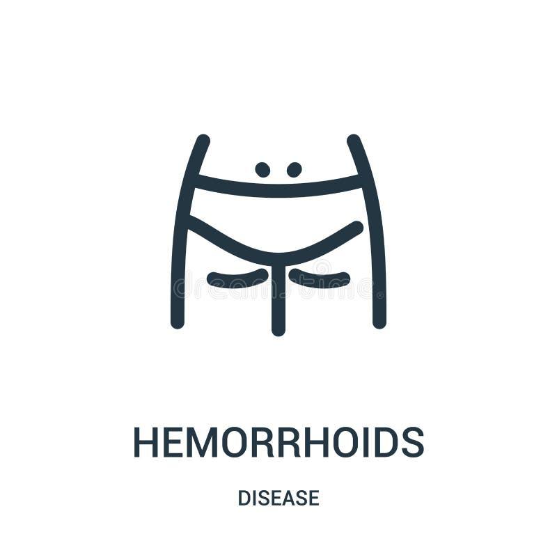 vecteur d'icône de hémorroïdes de collection de la maladie Ligne mince illustration de vecteur d'icône d'ensemble de hémorroïdes  illustration libre de droits