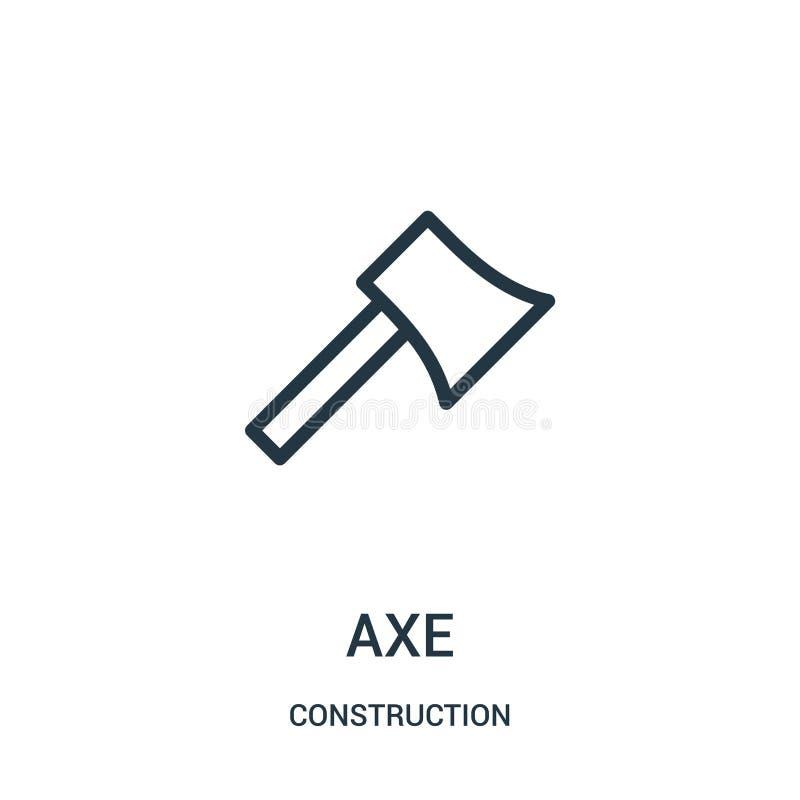vecteur d'icône de hache de collection de construction Ligne mince illustration de vecteur d'icône d'ensemble de hache illustration libre de droits