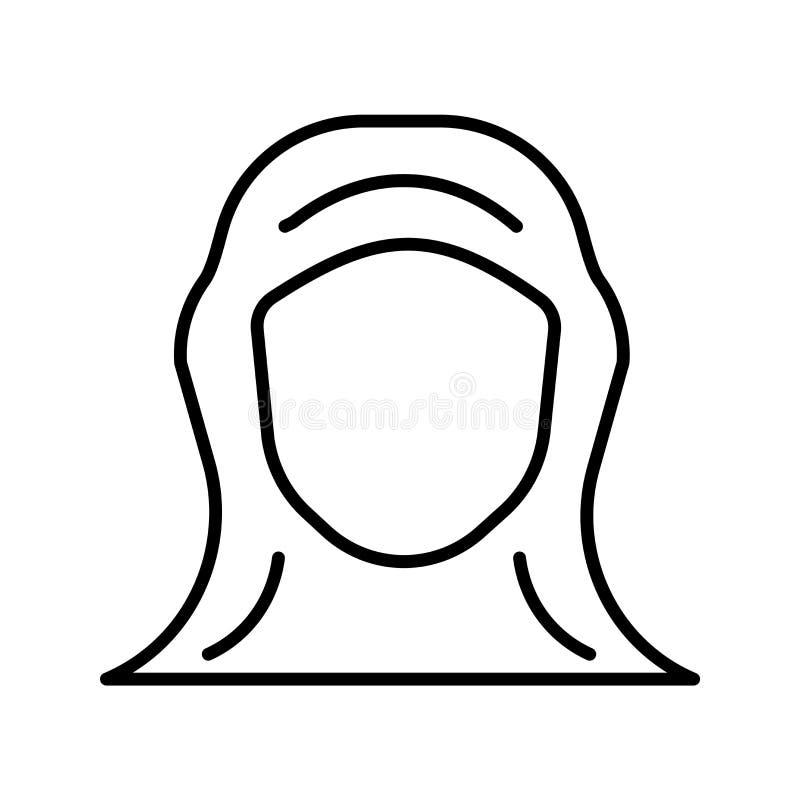Vecteur d'icône de Hijab d'isolement sur le fond blanc, signe de Hijab, ligne mince éléments de conception dans le style d'ensemb illustration de vecteur