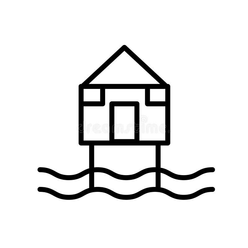 Vecteur d'icône de hutte de plage d'isolement sur le fond blanc, le signe de hutte de plage, la ligne ou le signe linéaire, conce illustration de vecteur