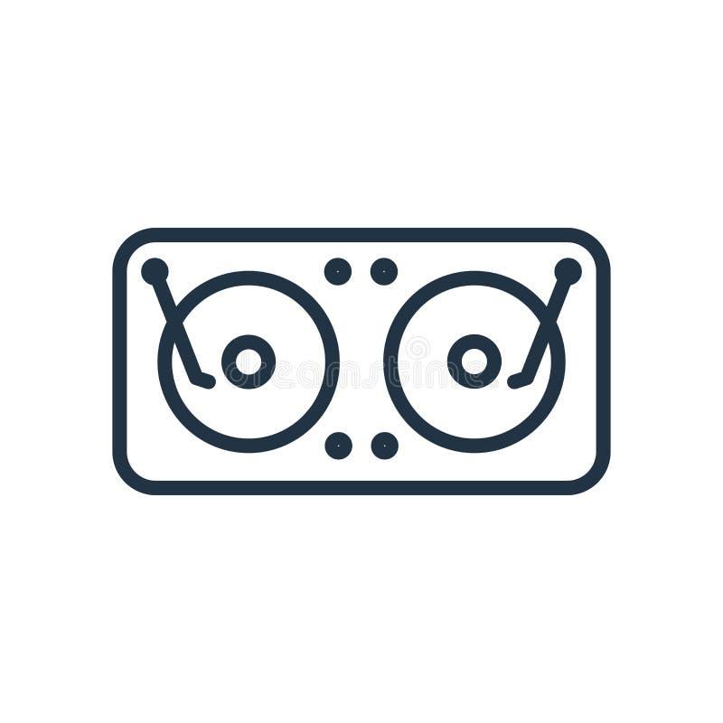 Vecteur d'icône de jockey de disque d'isolement sur le fond blanc, signe de jockey de disque illustration de vecteur