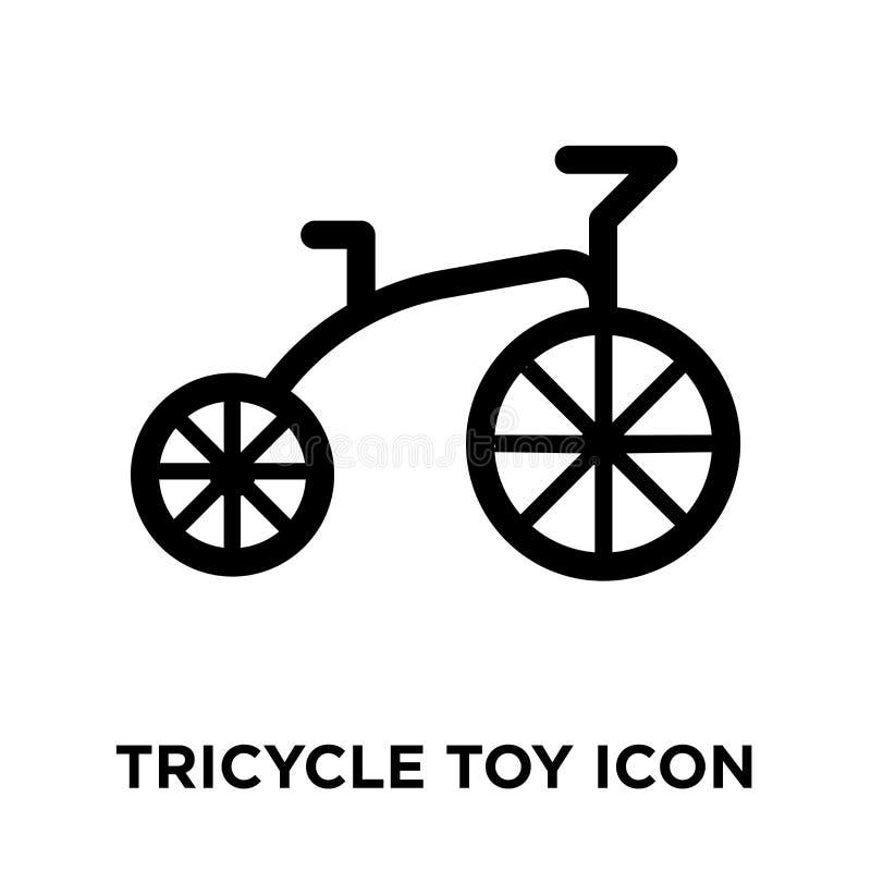 Vecteur d'icône de jouet de tricycle d'isolement sur le fond blanc, logo concentré illustration stock