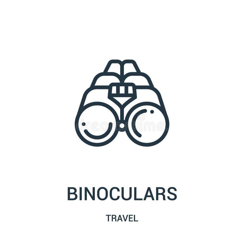 vecteur d'icône de jumelles de collection de voyage Ligne mince illustration de vecteur d'icône d'ensemble de jumelles Symbole li illustration libre de droits