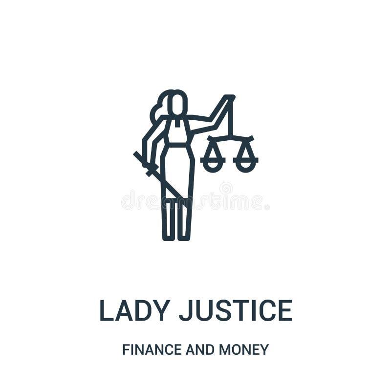 vecteur d'icône de justice de dame des finances et de la collection d'argent Ligne mince illustration de vecteur d'icône d'ensemb illustration stock