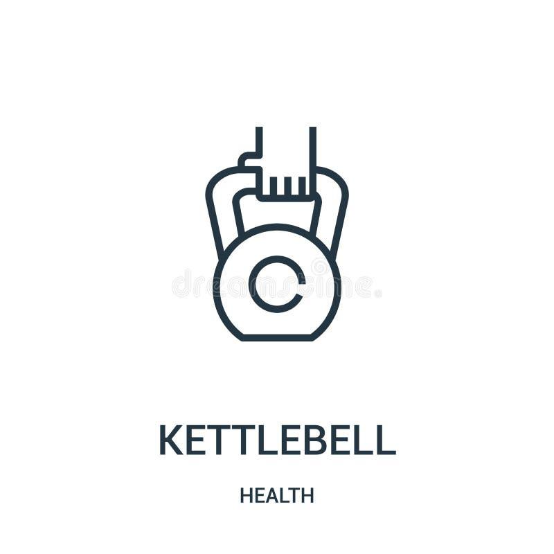 vecteur d'icône de kettlebell de collection de santé Ligne mince illustration de vecteur d'icône d'ensemble de kettlebell Symbole illustration stock