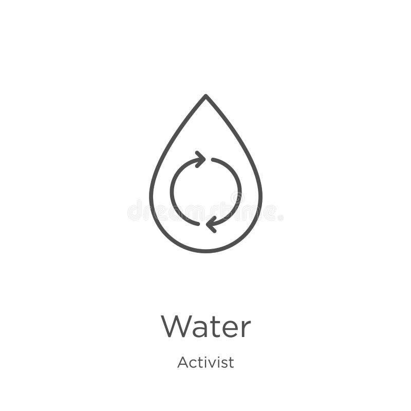 vecteur d'icône de l'eau de collection d'activiste Ligne mince illustration de vecteur d'icône d'ensemble de l'eau Contour, ligne illustration stock