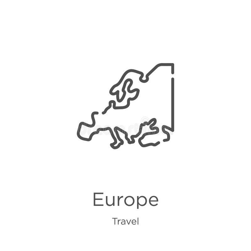 vecteur d'icône de l'Europe de collection de voyage Ligne mince illustration de vecteur d'icône d'ensemble de l'Europe Contour, l illustration stock