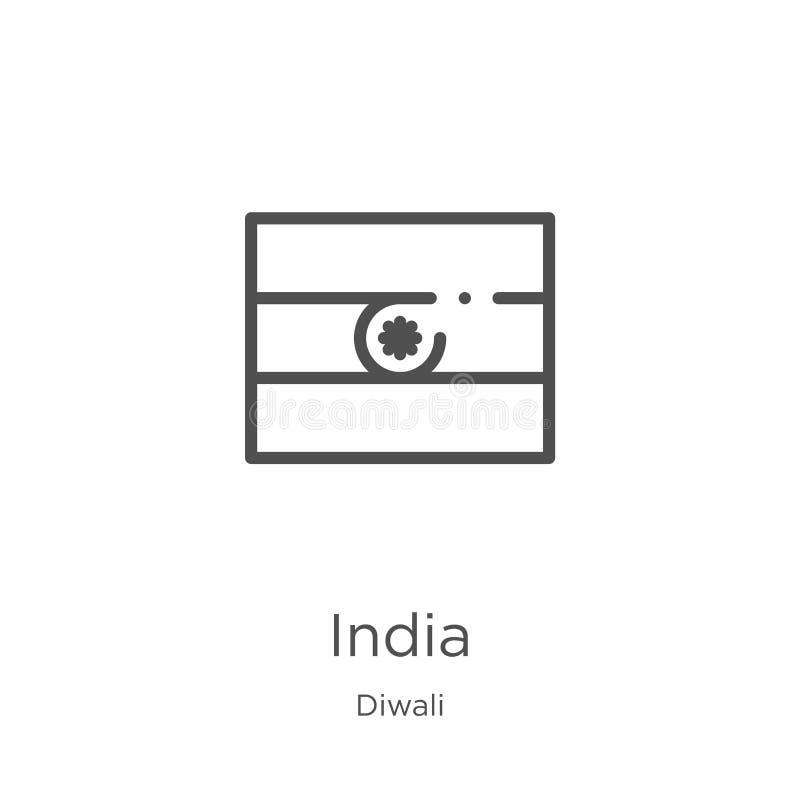 vecteur d'icône de l'Inde de collection de diwali Ligne mince illustration de vecteur d'icône d'ensemble de l'Inde Contour, ligne illustration libre de droits