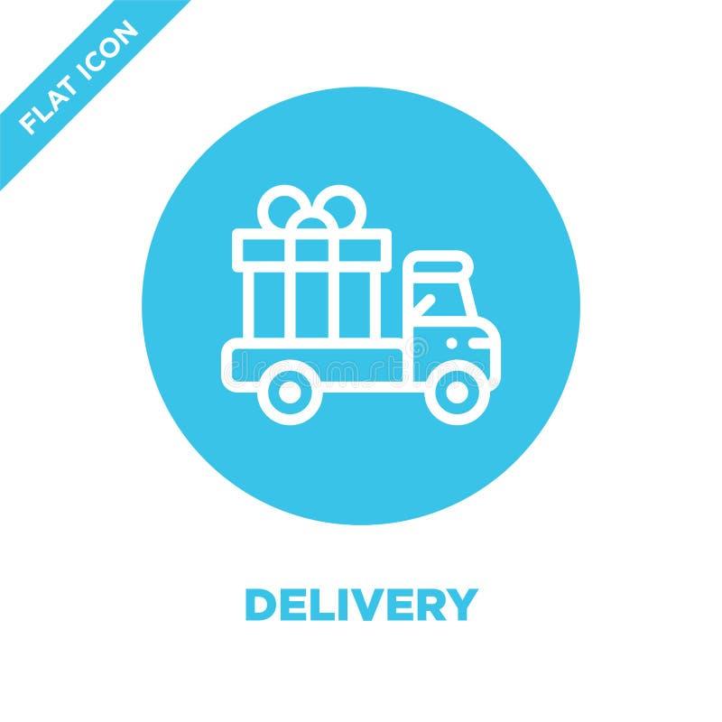 Vecteur d'icône de la livraison Ligne mince illustration de vecteur d'icône d'ensemble de la livraison symbole de la livraison po illustration stock