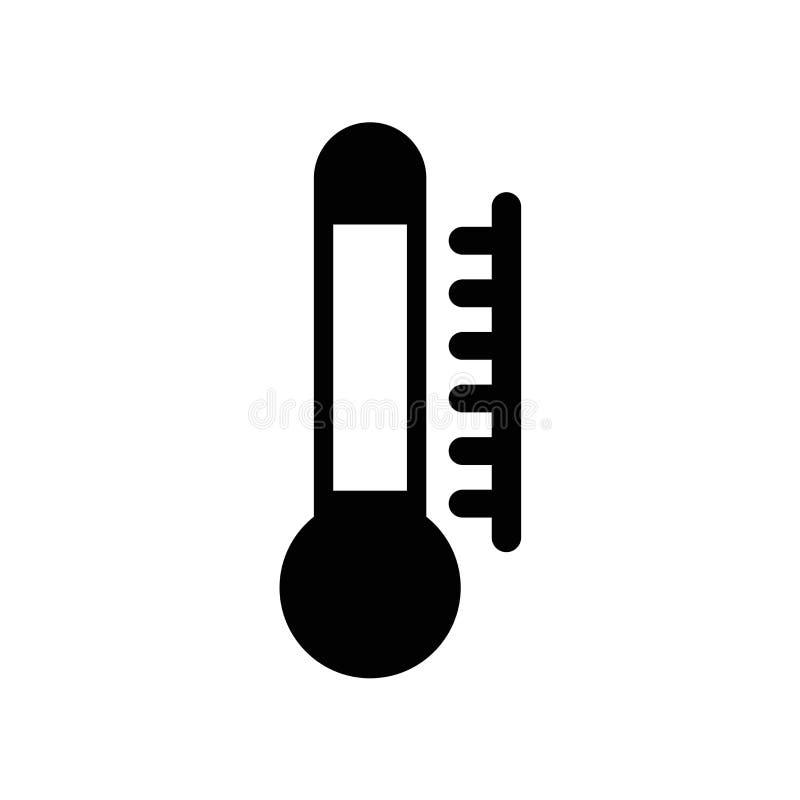 Vecteur d'icône de la température d'isolement sur le fond blanc, signe de la température, pictogramme foncé illustration stock