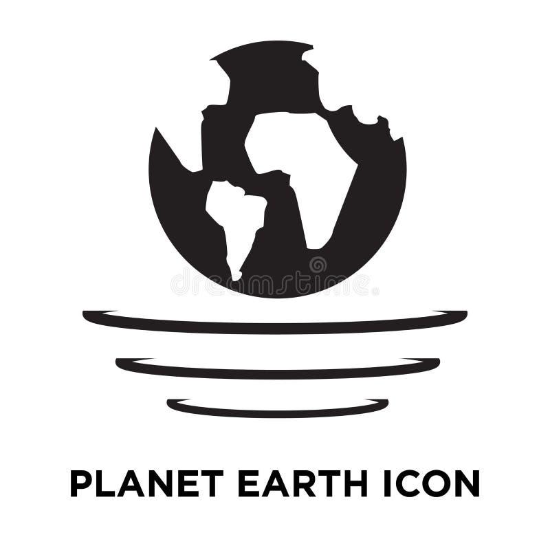 Vecteur d'icône de la terre de planète d'isolement sur le fond blanc, logo concentré illustration de vecteur