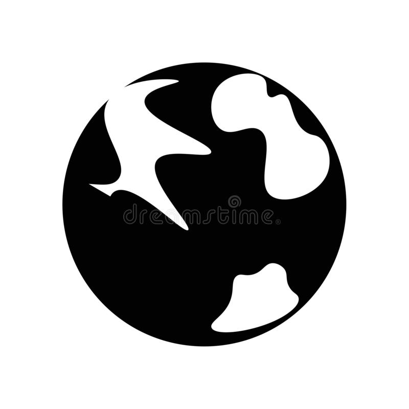 Vecteur d'icône de la terre de planète d'isolement sur le fond blanc, signe de la terre de planète, pictogramme foncé illustration libre de droits