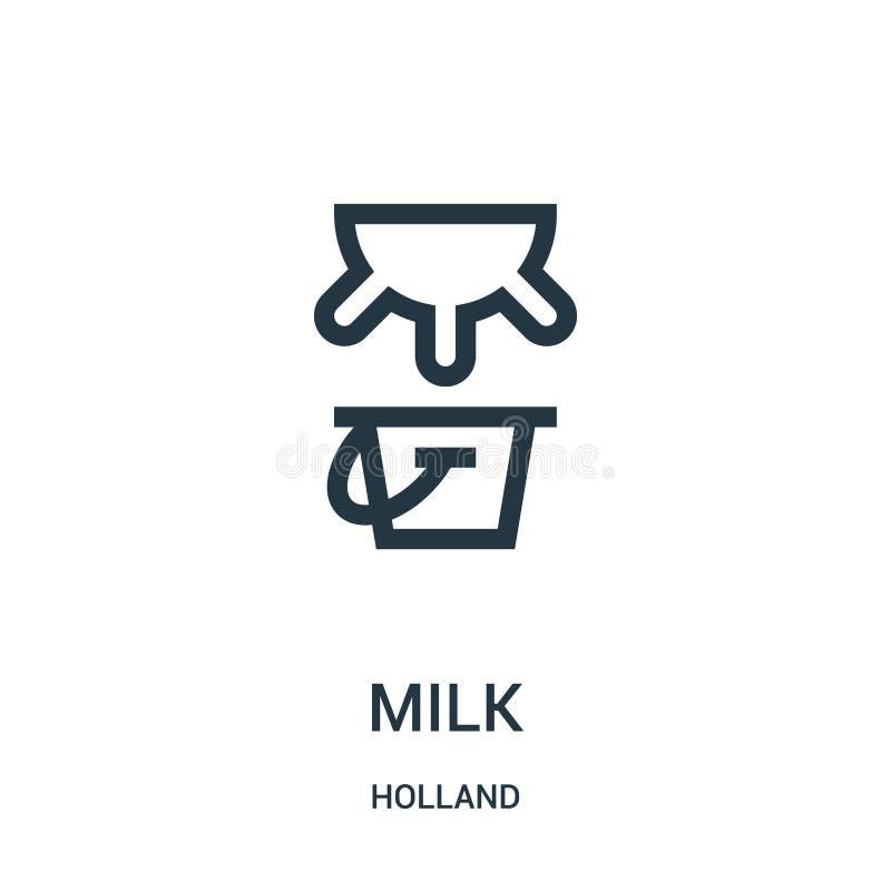 vecteur d'icône de lait de collection de la Hollande Ligne mince illustration de vecteur d'icône d'ensemble de lait Symbole linéa illustration stock