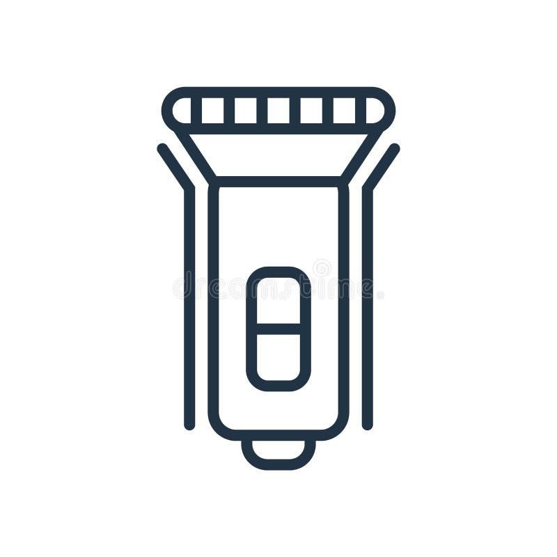 Vecteur d'icône de lampe-torche d'isolement sur le fond blanc, signe de lampe-torche illustration de vecteur