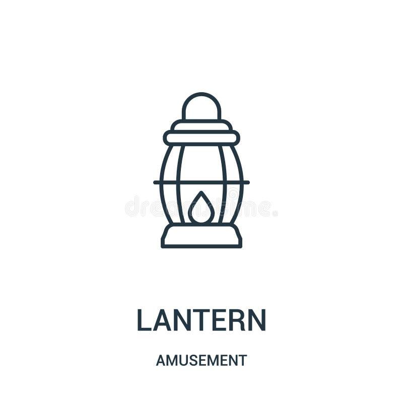 vecteur d'icône de lanterne de collection d'amusement Ligne mince illustration de vecteur d'icône d'ensemble de lanterne illustration de vecteur