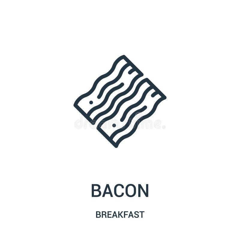 vecteur d'icône de lard de collection de petit déjeuner Ligne mince illustration de vecteur d'icône d'ensemble de lard illustration stock