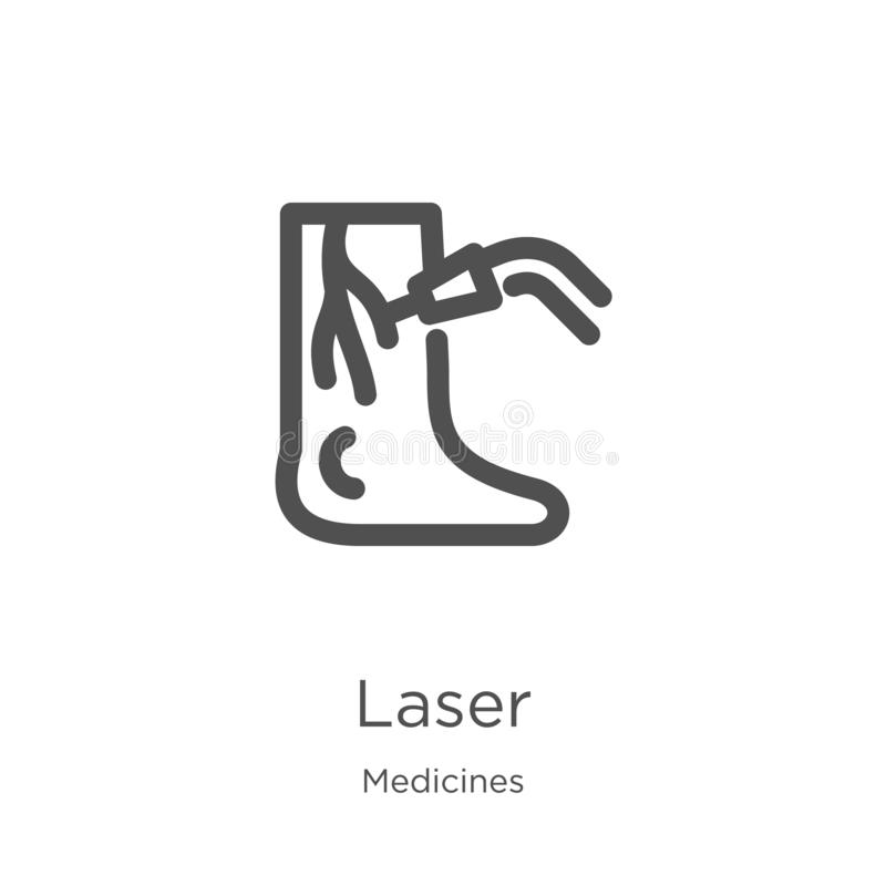 vecteur d'icône de laser de collection de médecines Ligne mince illustration de vecteur d'icône d'ensemble de laser Contour, lign illustration de vecteur