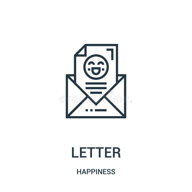 vecteur d'icône de lettre de collection de bonheur Ligne mince illustration de vecteur d'icône d'ensemble de lettre Symbole linéa illustration stock