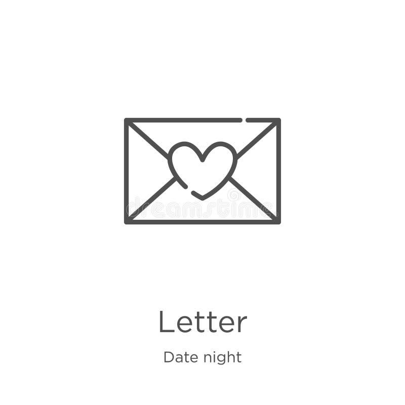 vecteur d'icône de lettre de collection de nuit de date Ligne mince illustration de vecteur d'ic?ne d'ensemble de lettre Contour, illustration de vecteur