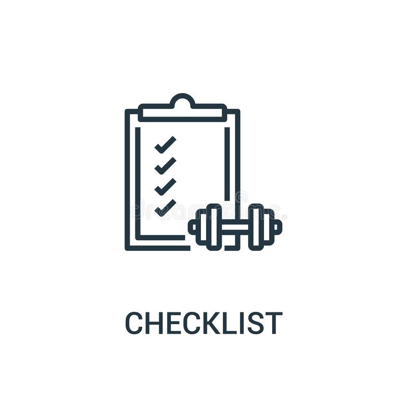 vecteur d'icône de liste de contrôle de collection de santé Ligne mince illustration de vecteur d'icône d'ensemble de liste de co illustration de vecteur