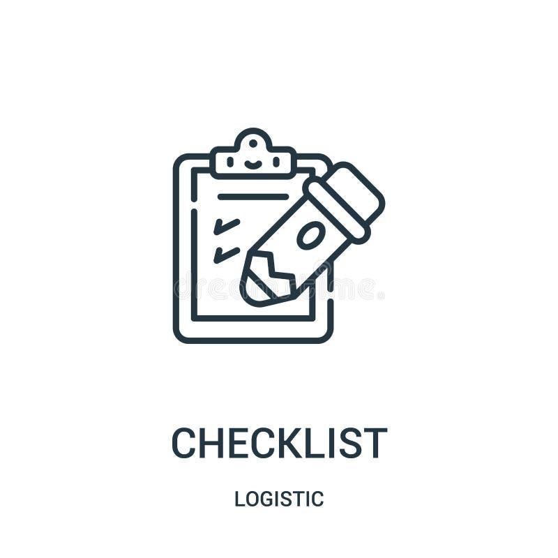 vecteur d'icône de liste de contrôle de la collection logistique Ligne mince illustration de vecteur d'icône d'ensemble de liste  illustration de vecteur