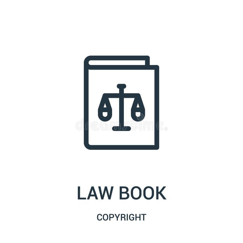 vecteur d'icône de livre de loi de collection de copyright Ligne mince illustration de vecteur d'icône d'ensemble de livre de loi illustration de vecteur