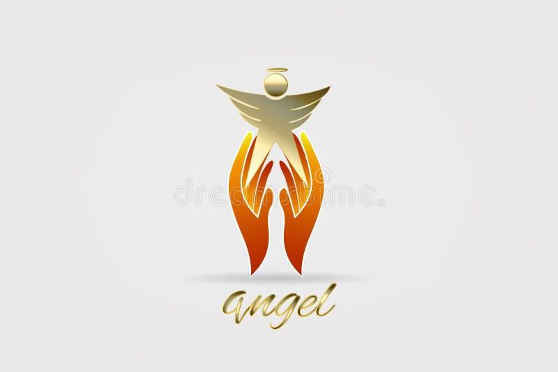 Vecteur d'icône de logo d'ange et de mains illustration stock